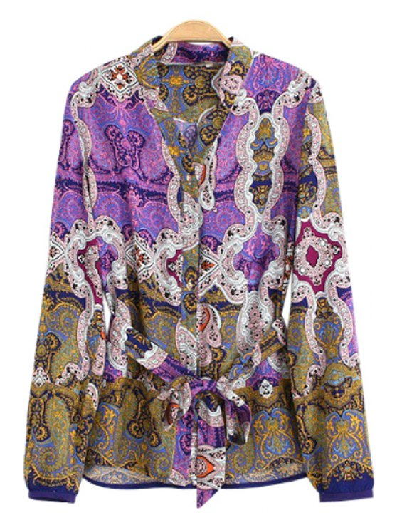 fancy V-Neck Floral Print Tie-Up Shirt - 01# S