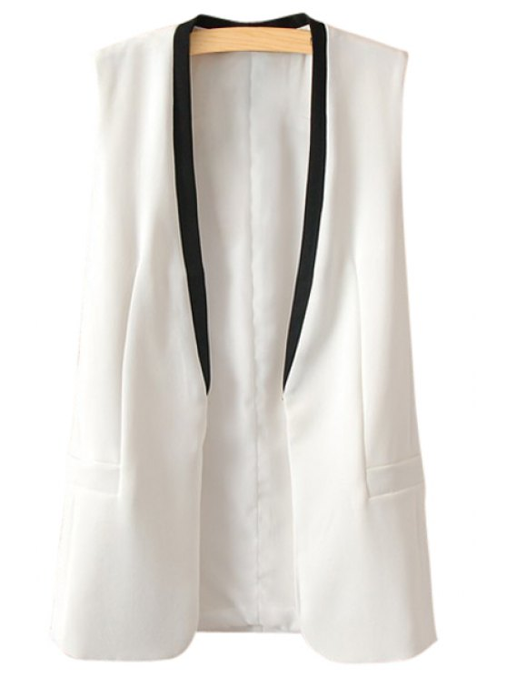 affordable Collarless Color Block Waistcoat - WHITE S