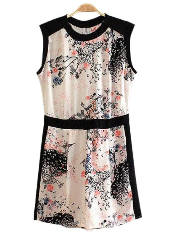 womens Floral Ink Painting Sleeveless Romper - COLORMIX S