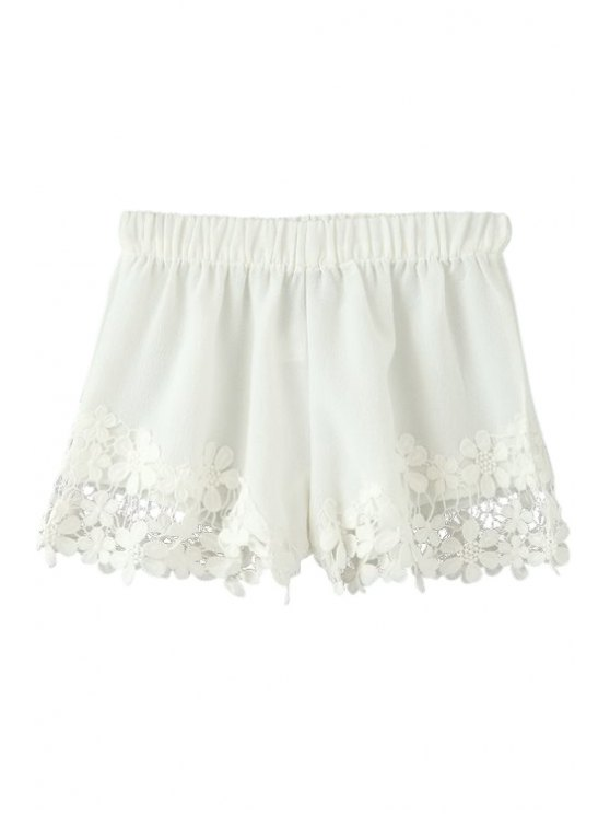 shops Floral Lace Splicing Elastic Waist Shorts - WHITE S