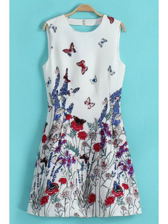 lady Floral and Butterfly Print Backless Dress - WHITE S