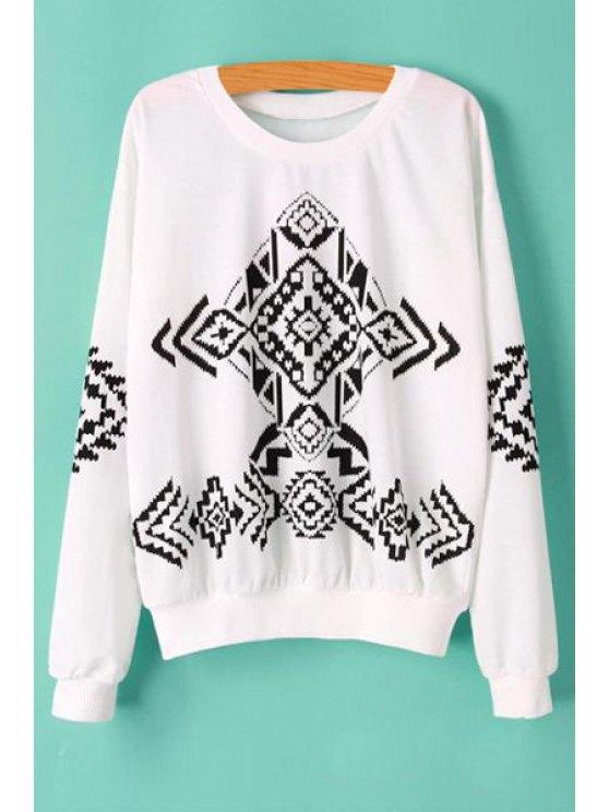 fancy Geometric Print Color Block T-Shirt - WHITE S