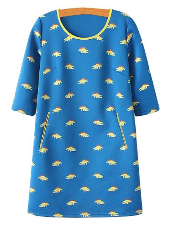 outfits Crocodile Print Half Sleeve Dress - BLUE S