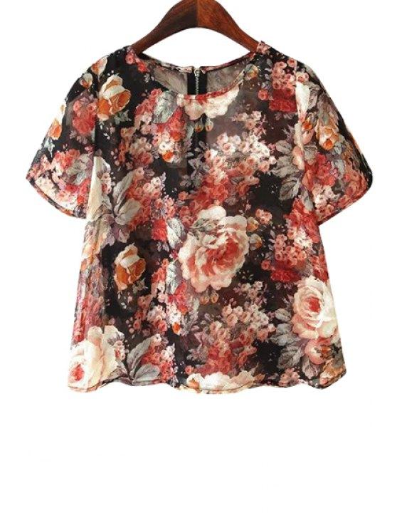 outfit Jewel Neck Floral Print T-Shirt - COLORMIX S