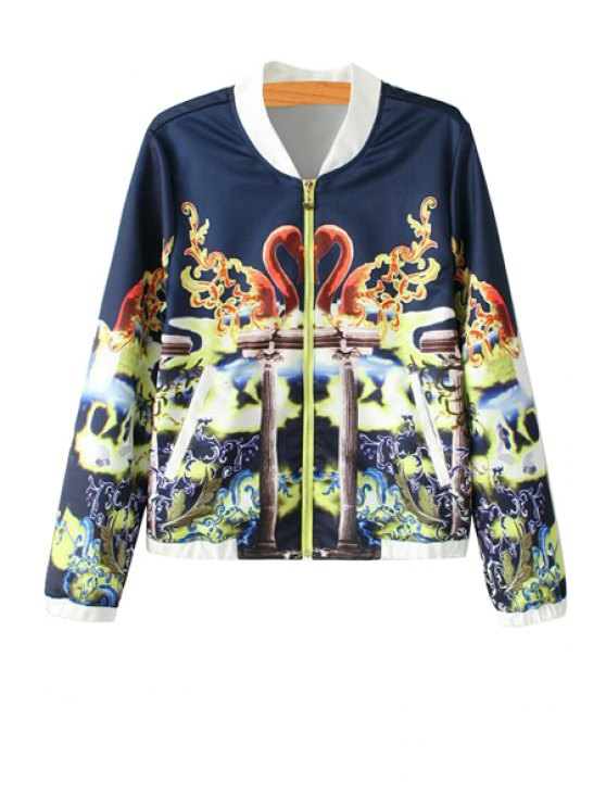 fashion Stand-Up Collar Swan Print Coat - CADETBLUE L
