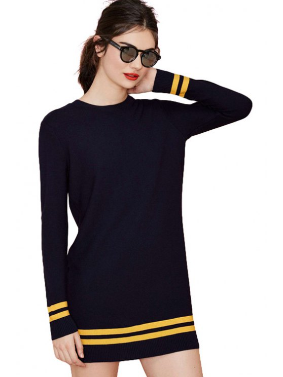 buy Casual Style Round Neck Long Sleeve Striped Splicing Women's Sweater Dress - NAVY BLUE S