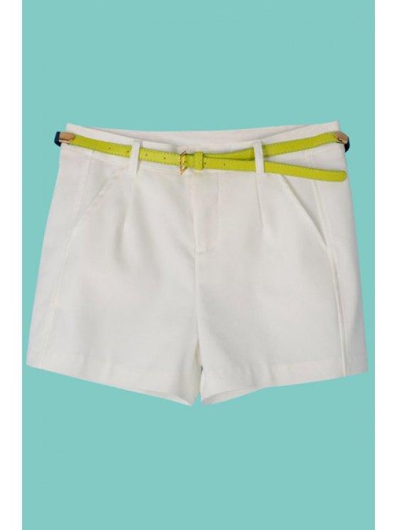 women Candy Color Belt Zipper Fly Shorts - WHITE S