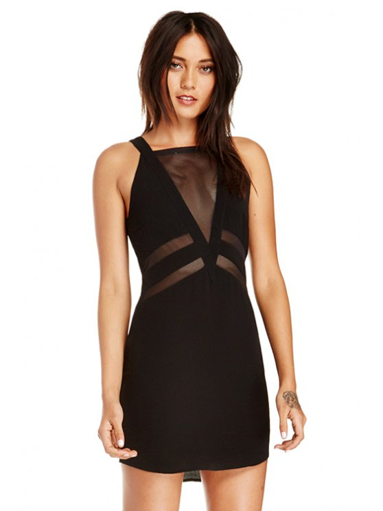 online Square Collar See-Through Voile Splicing Dress - BLACK XS