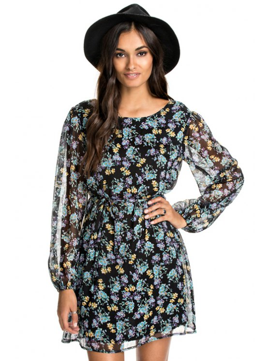 fashion Floral Print Backless Tie-Up Dress - COLORMIX XS