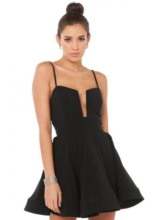 shop Spaghetti Strap Solid Color Ruffle Dress - BLACK XS