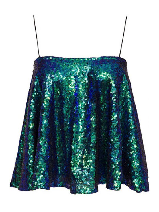 chic Spaghetti Strap Sequins Tank Top - GREEN XS