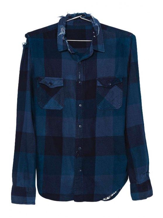 trendy Plaid Asymmetrical Long Sleeve Shirt - BLUE AND BLACK XS