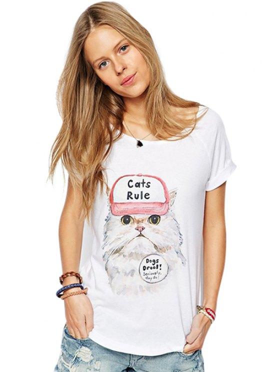 chic Short Sleeve Kitten Pattern T-Shirt - WHITE S