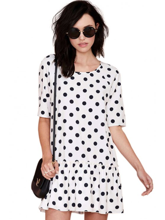 women Polka Dot Print Half Sleeve Dress - WHITE AND BLACK S