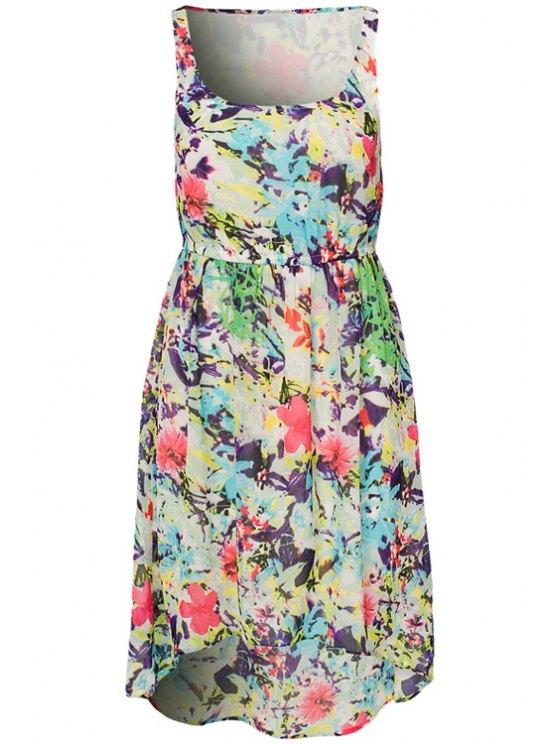 hot Colorful Floral Print Sundress - COLORMIX XL