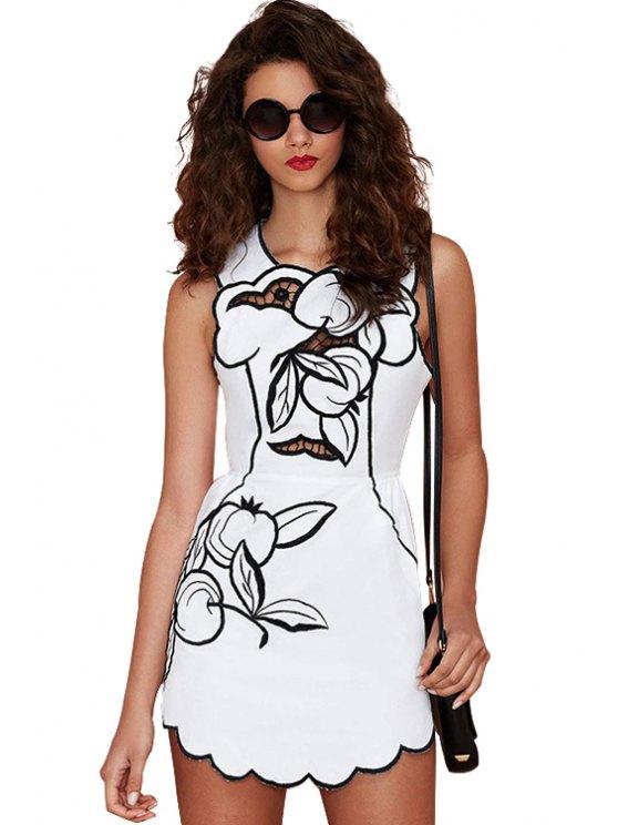 shops Print Hollow Sleeveless Dress - WHITE S