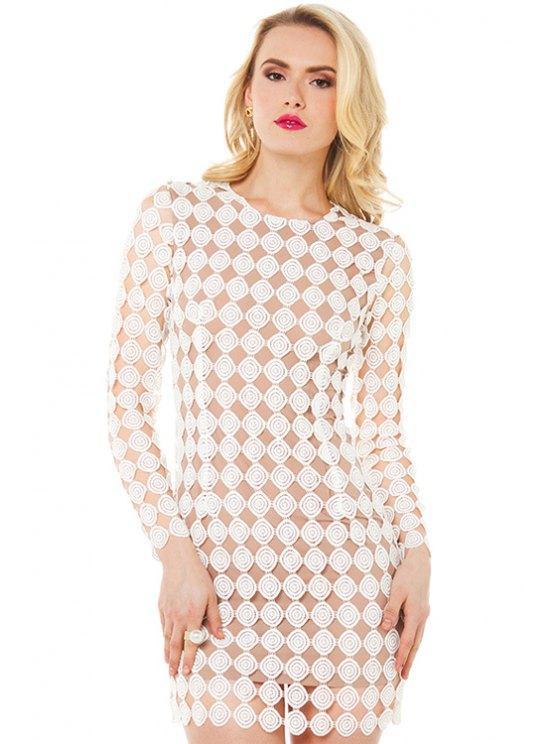 women's Polka Dot Pattern Dress - WHITE S