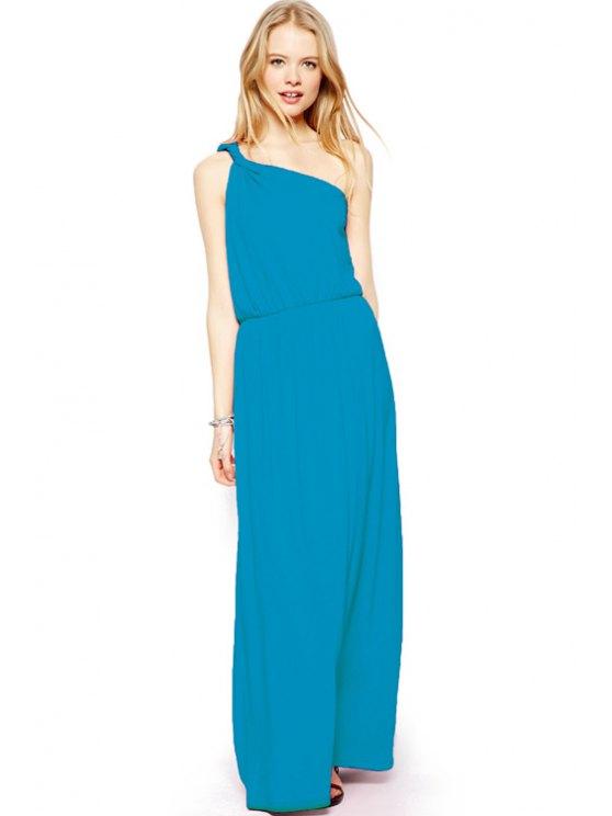 chic One-Shoulder Sleeveless Maxi Dress - LIGHT BLUE XS