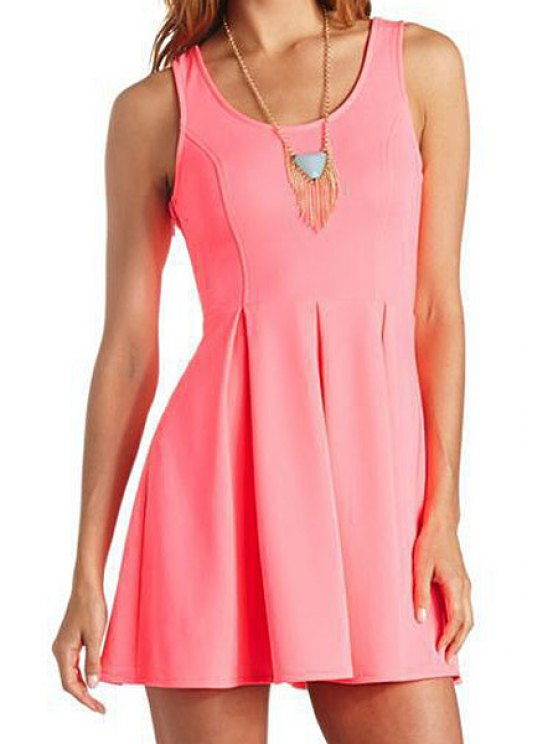 hot Solid Color Heart Pattern Openwork Dress - PINK XS