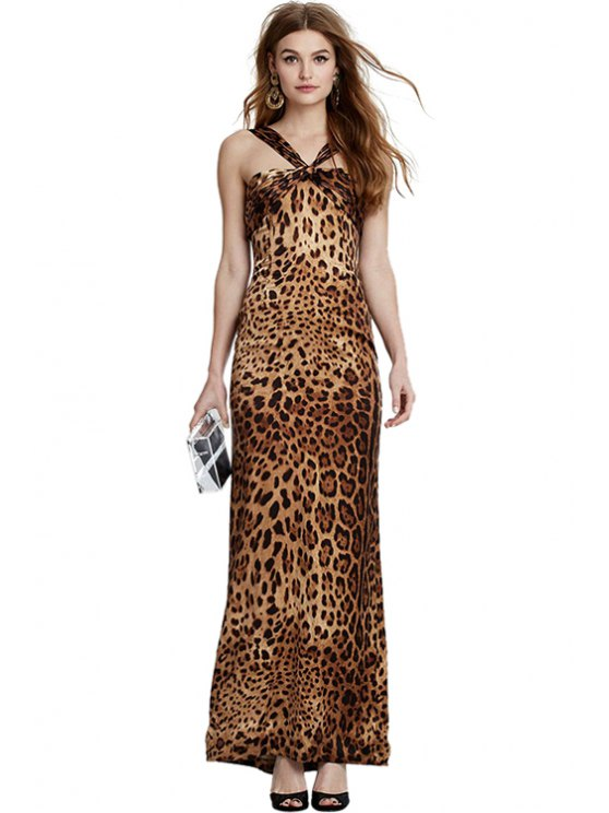 lady Leopard Print Straps Maxi Dress - LEOPARD S