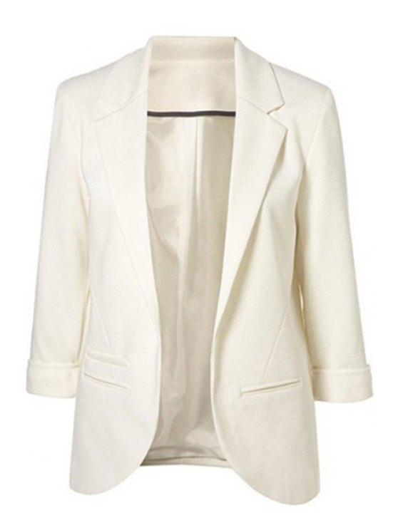 lady Lapel Solid Color 3/4 Sleeve Blazer - WHITE XS