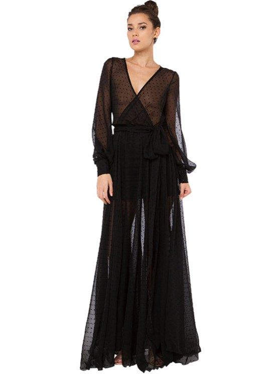 trendy Black Voile Maxi Dress - BLACK S