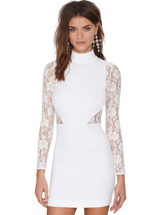 shops Turtle Neck Lace Splicing Dress - WHITE S
