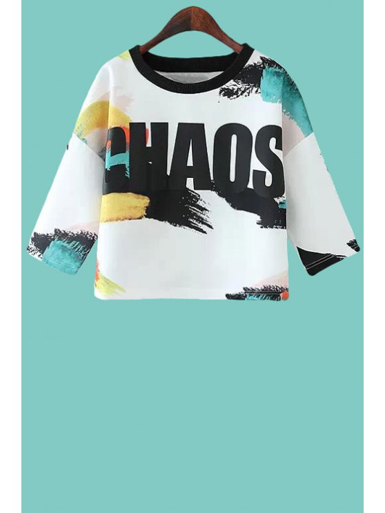 latest Color Block Letter Print Half Sleeve T-Shirt - WHITE S