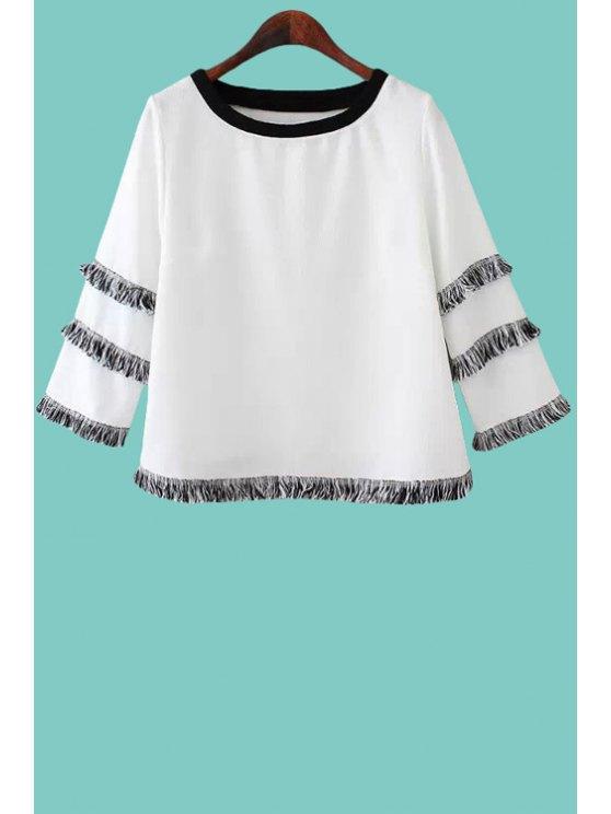 sale Fringe Splicing 3/4 Sleeve T-Shirt - WHITE S