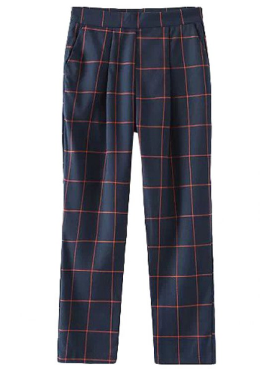 latest Plaid High Waist Zipper Fly Pants - BLUE AND RED S
