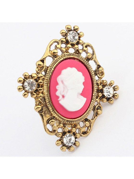 lady Chic Rhinestone Portrait Ring For Women - COLOR ASSORTED ONE-SIZE