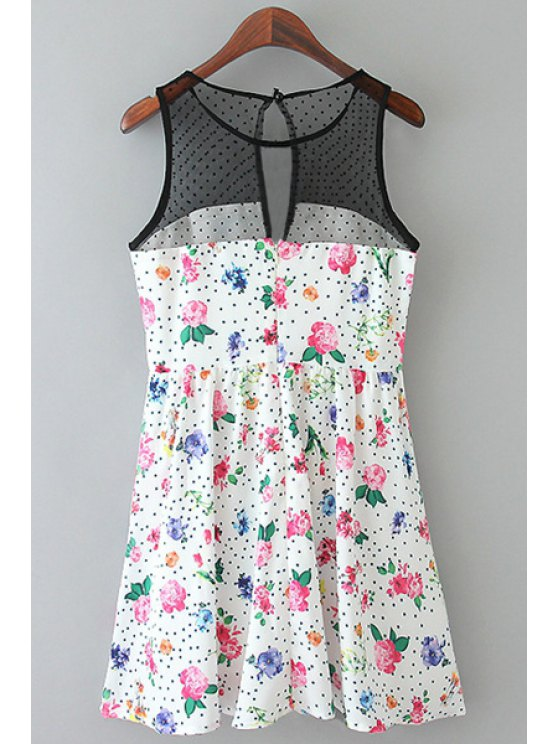 hot Floral Print Voile Splicing Dress - WHITE AND BLACK XL
