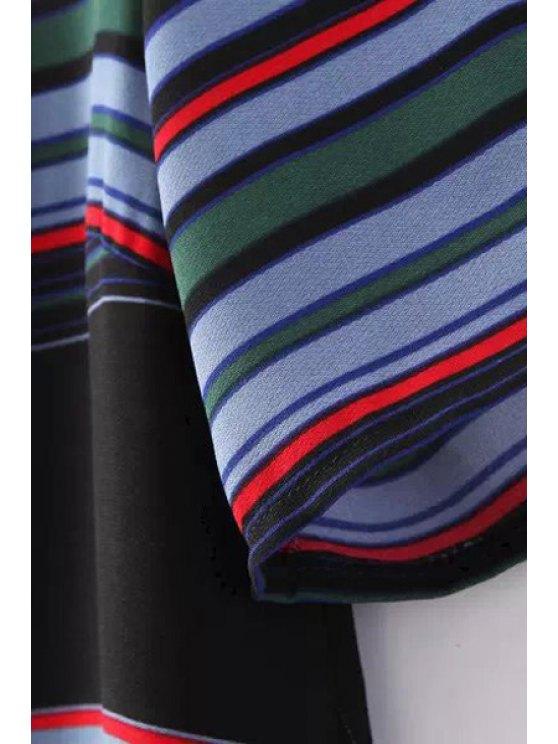 Colorful Stripe Short Sleeve Dress - COLORMIX L Mobile
