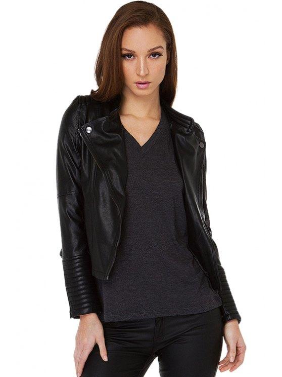 womens Black PU Leather Jacket - BLACK XS