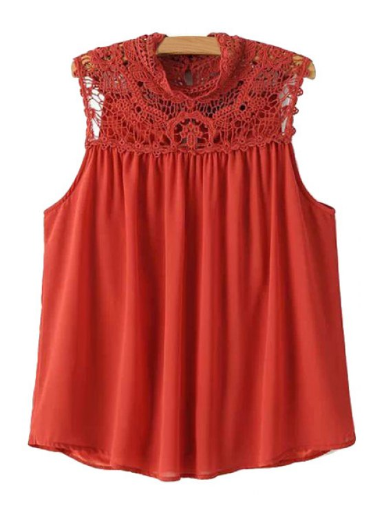 fashion Lace Splicing Solid Color Sleeveless Blouse - RED S