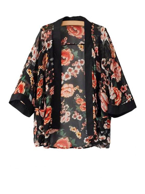 unique Floral Print 3/4 Sleeve Coat - BLACK L