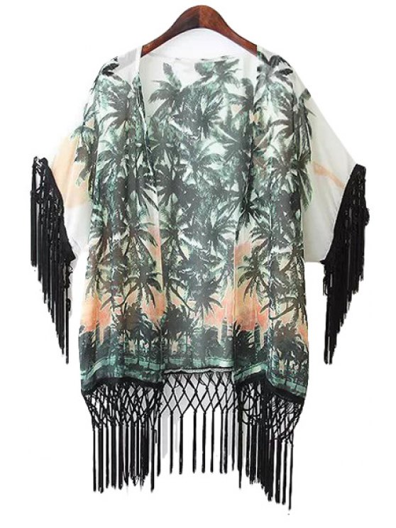 sale Coconut Tree Print Fringe Coat - WHITE AND GREEN S
