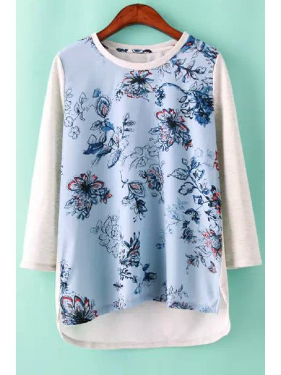 unique Floral Print Asymmetrical T-Shirt - BLUE AND WHITE S