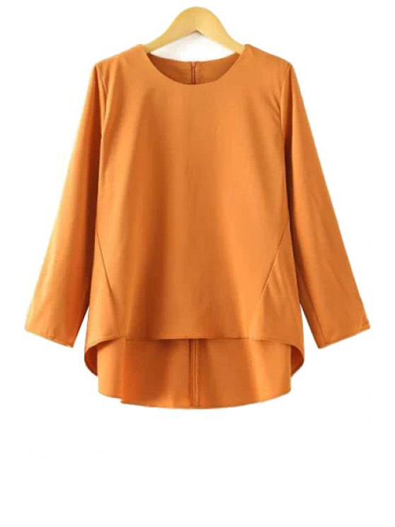 lady Jewel Neck Solid Color Asymmetrical T-Shirt - YELLOW S