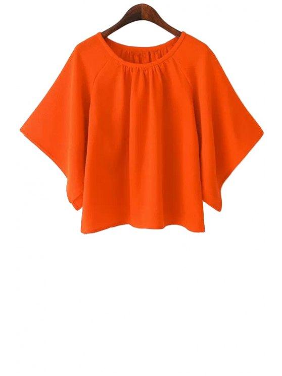 buy Bat-Wing Sleeve Solid Color Blouse - ORANGE L