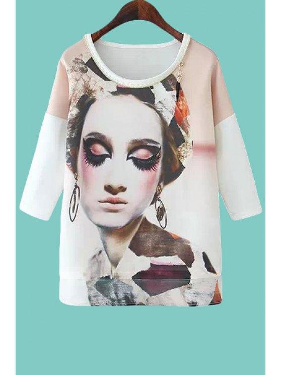 shop Figure Print Zipper 3/4 Sleeve T-Shirt - WHITE S