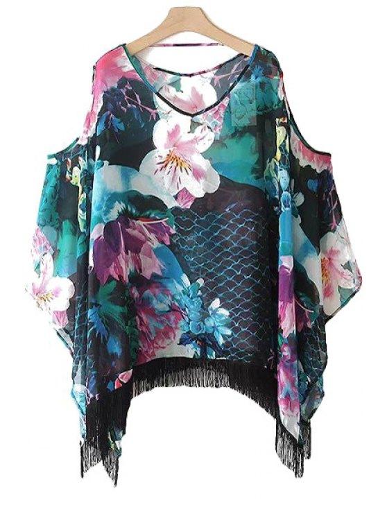 outfits Floral Fringe Off-The-Shoulder Blouse - GREEN S