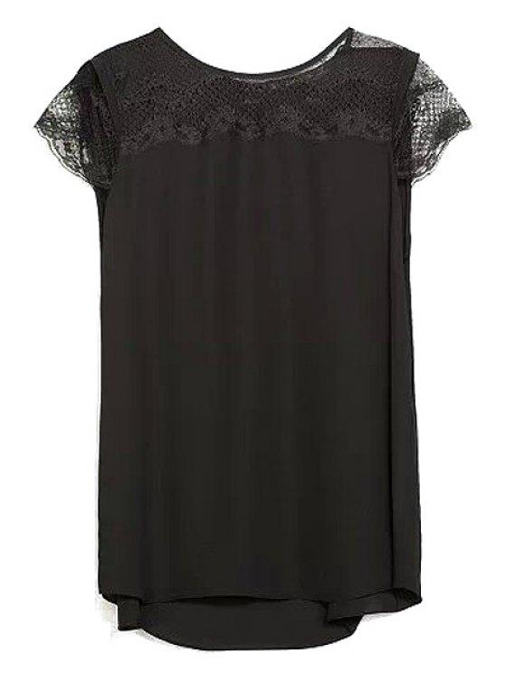 women Short Sleeve Lace Splicing T-Shirt - BLACK S