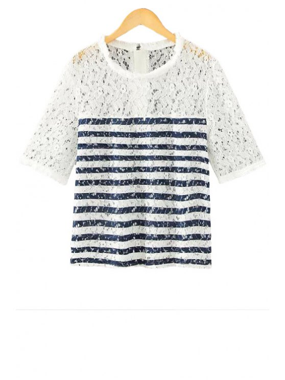 lady Lace Striped Short Sleeve T-Shirt - WHITE S