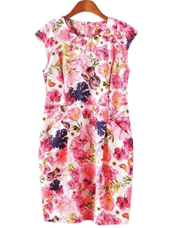outfit Short Sleeve Full Floral Dress - PINK S