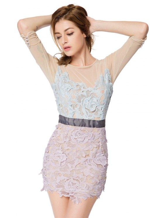 womens Crochet Flower 3/4 Sleeve Dress - COLORMIX XS