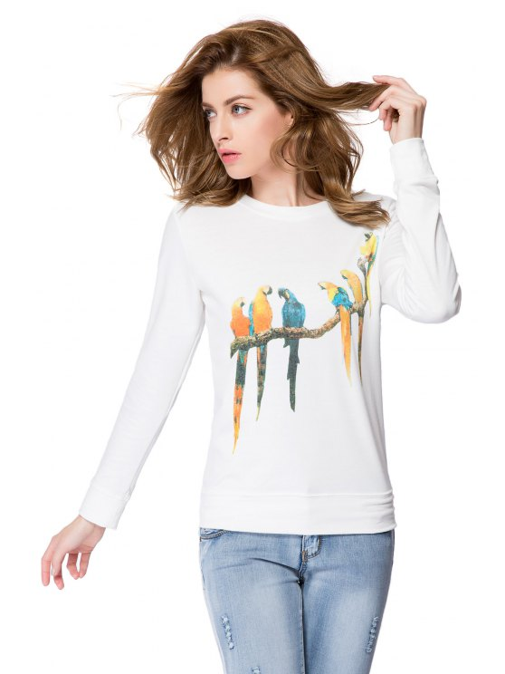 buy Parrot Print Long Sleeve Sweatshirt - WHITE XS