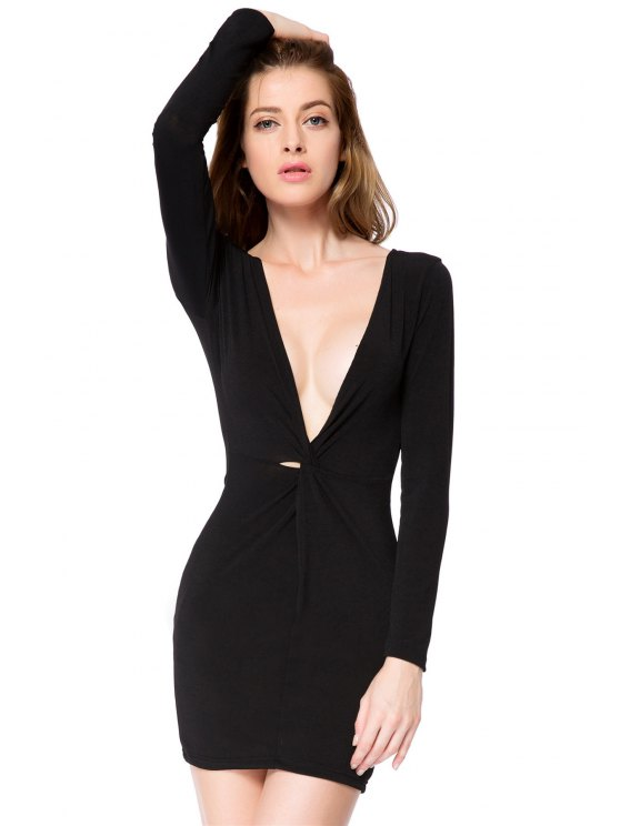 lady Plunging Neck Black Bodycon Dress - BLACK S
