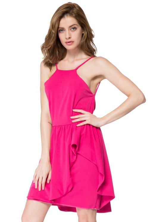 Spaghetti Straps Flouncing Dress - PLUM M Mobile