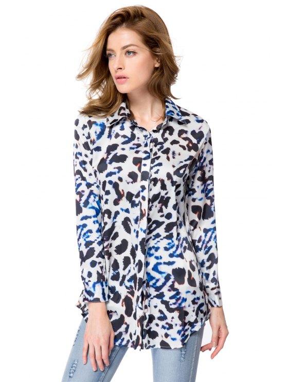 women Shirt Collar Leopard Print Shirt - LEOPARD S